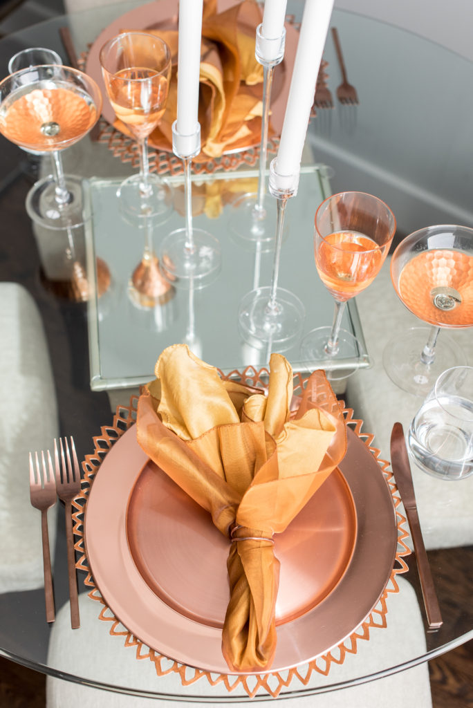 tablescape, table setting,copper, rose gold, trends, dining