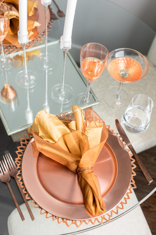 table setting, table, dine, dining, copper, trends, hostess