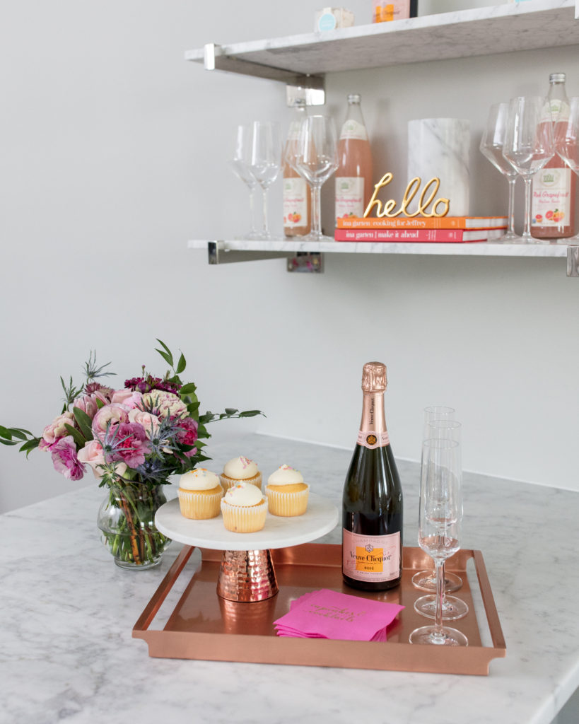 champagne, dessert, hostess, entertain, at home, sweets