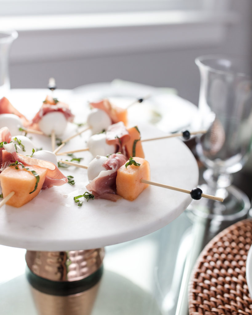 easy apps, melon, prosciutto, skewers, hostess