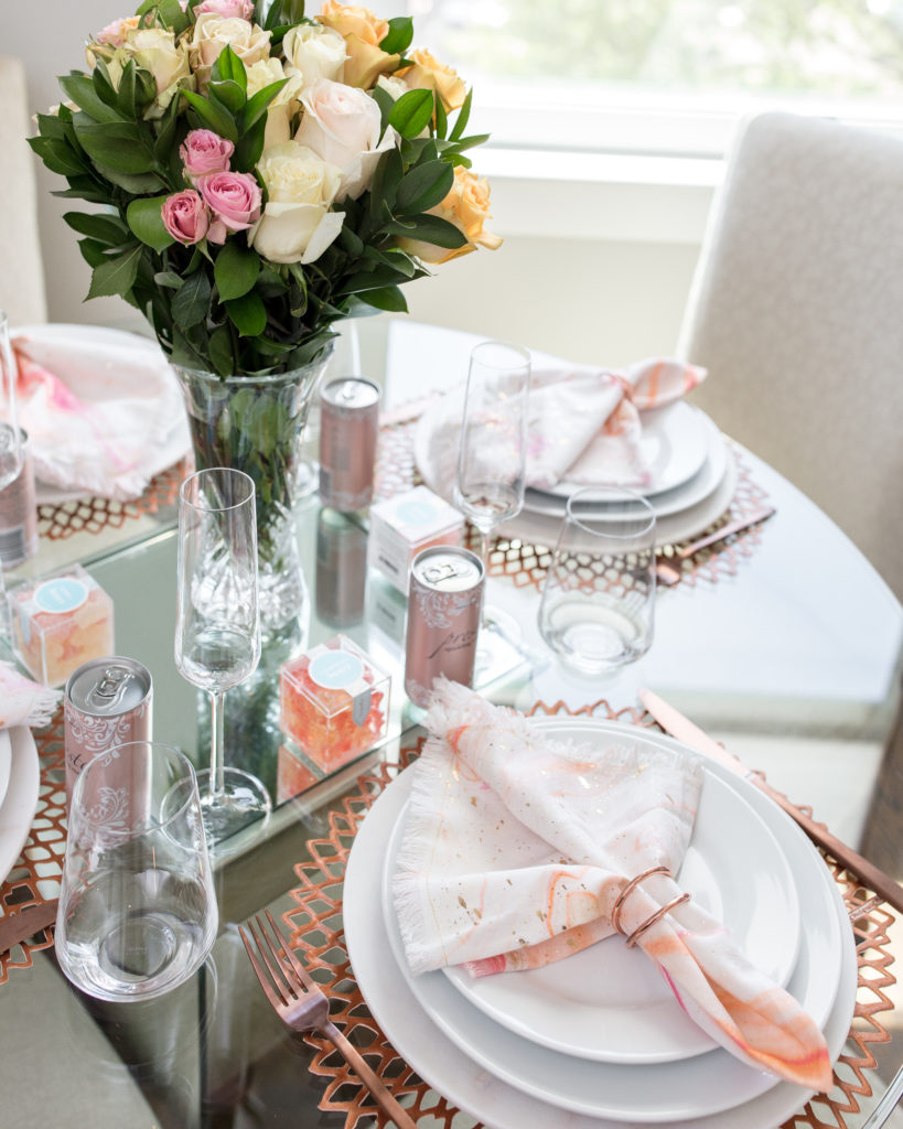 luncheon, pink theme, ladies who lunch, urbanstems, pink decor, anthropologie, sugarfina, hostess, host a luncheon, champagne darling