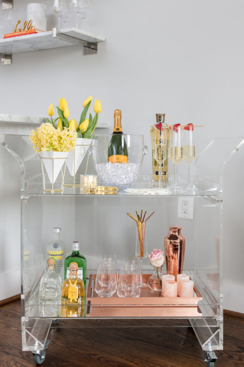 bar cart, bar, bar cart essentials, entertaining, how to stock a bar