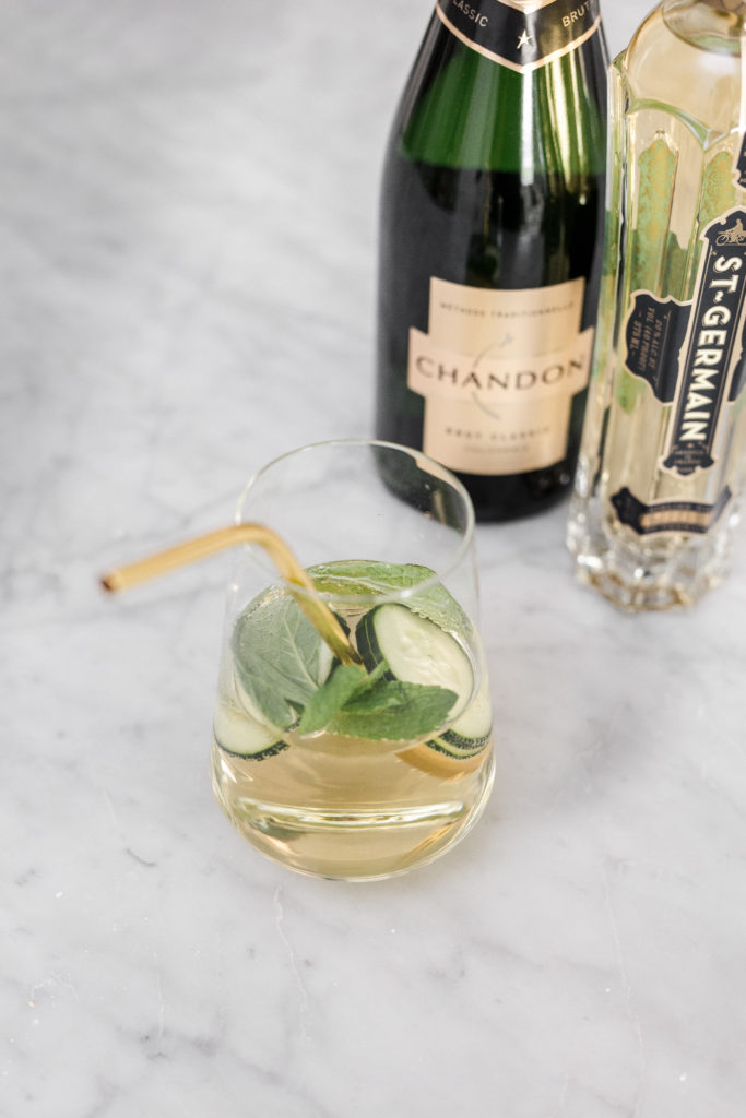 champagne cocktails, cucumber, mint, st germain, seasonal, seasonal cocktails, entertaining, hostess, drinks