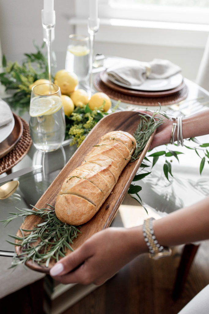 champagne darling, fall, seasonal, recipes, rustic garlic bread, rosemary, herb garlic bread, how to, hostess, dinner, appetizer