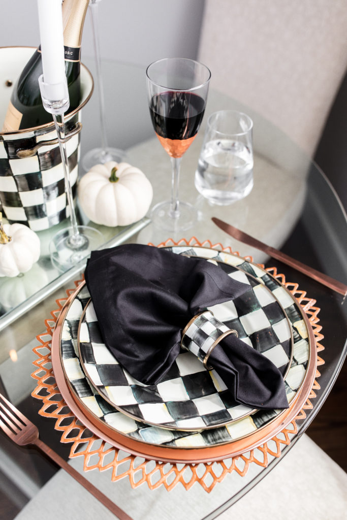 mackenzie childs, courtly check, dinnerware, tablescape, table setting, how to, halloween, seasonal, copper, black, white, style