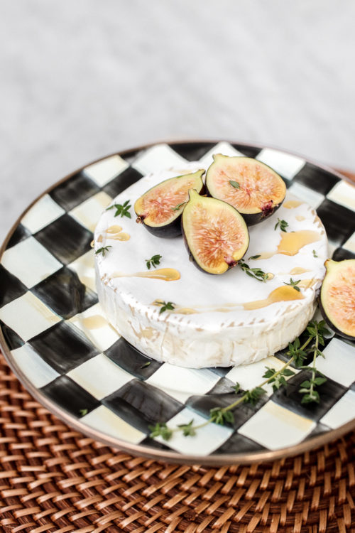brie, figs, honey, appetizer, easy apps, recipe, thyme, cheese, mackenzie childs, fall cooking, seasonal