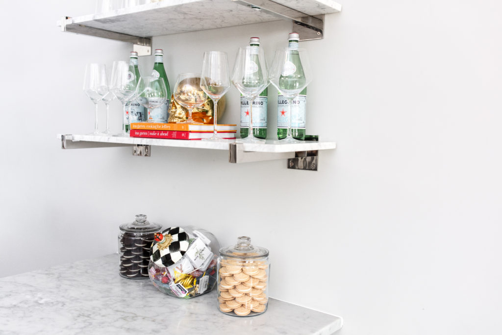 kitchen, shelving, shelves, restoration hardware, marble, mackenzie childs, cookie jars, crate and barrel, tour wine glasses, styling, inspiration