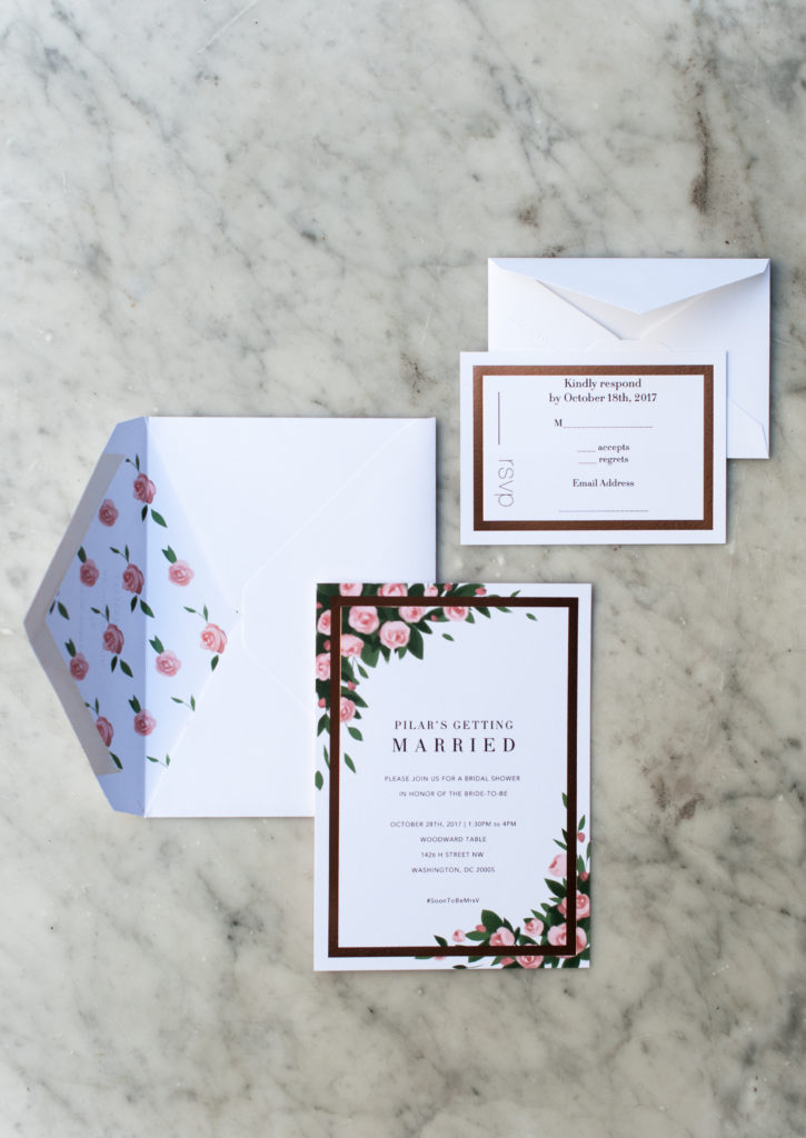bridal shower, invitations, paperless post, rose gold, floral