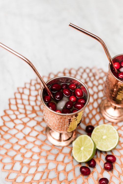 sparkling cranberry mules, holiday cocktails, moscow mule, champagne, le grand courtage brut, champagne moscow mule