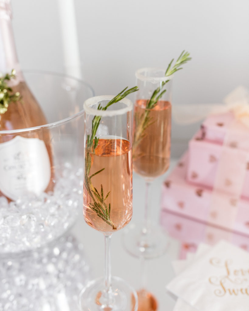 rosemary rose champagne cocktail, valentines day cocktail, agave sugar rim, holidays, le grand courtage, champagne