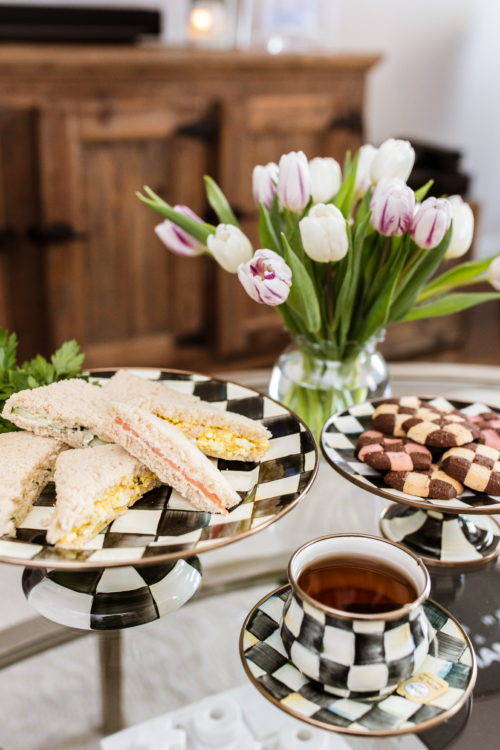 tea sandwiches, cucumber, salmon, nanz egg salad, mackenzie childs, courtly check, spring, entertaining
