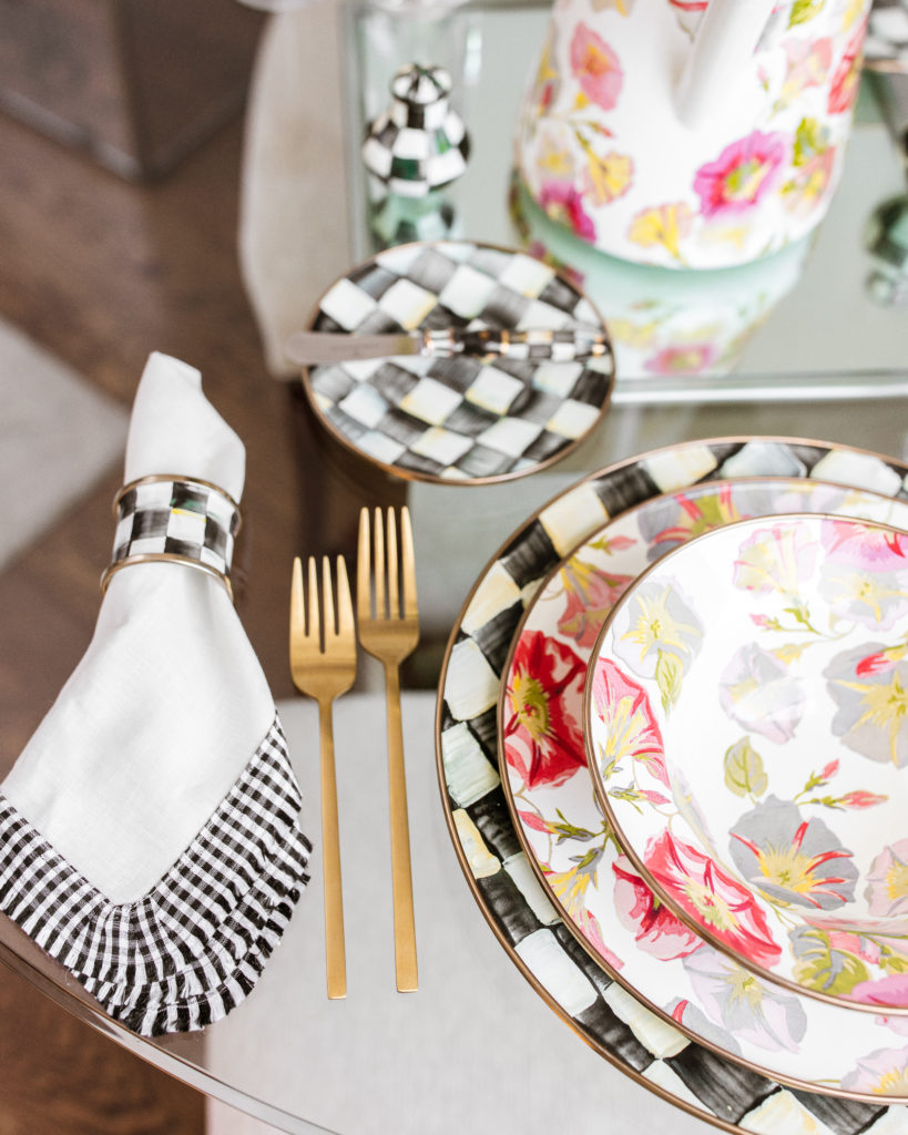 mackenzie childs, morning glory, courtly check, tablesetting, tablescape, spring, home decor, dinnerware