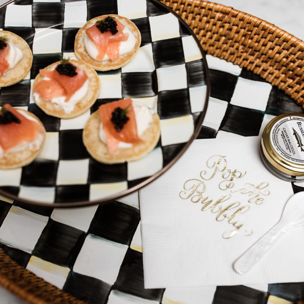 mackenzie childs, pedestal tray, appetizer, caviar blini, recipe, hostess