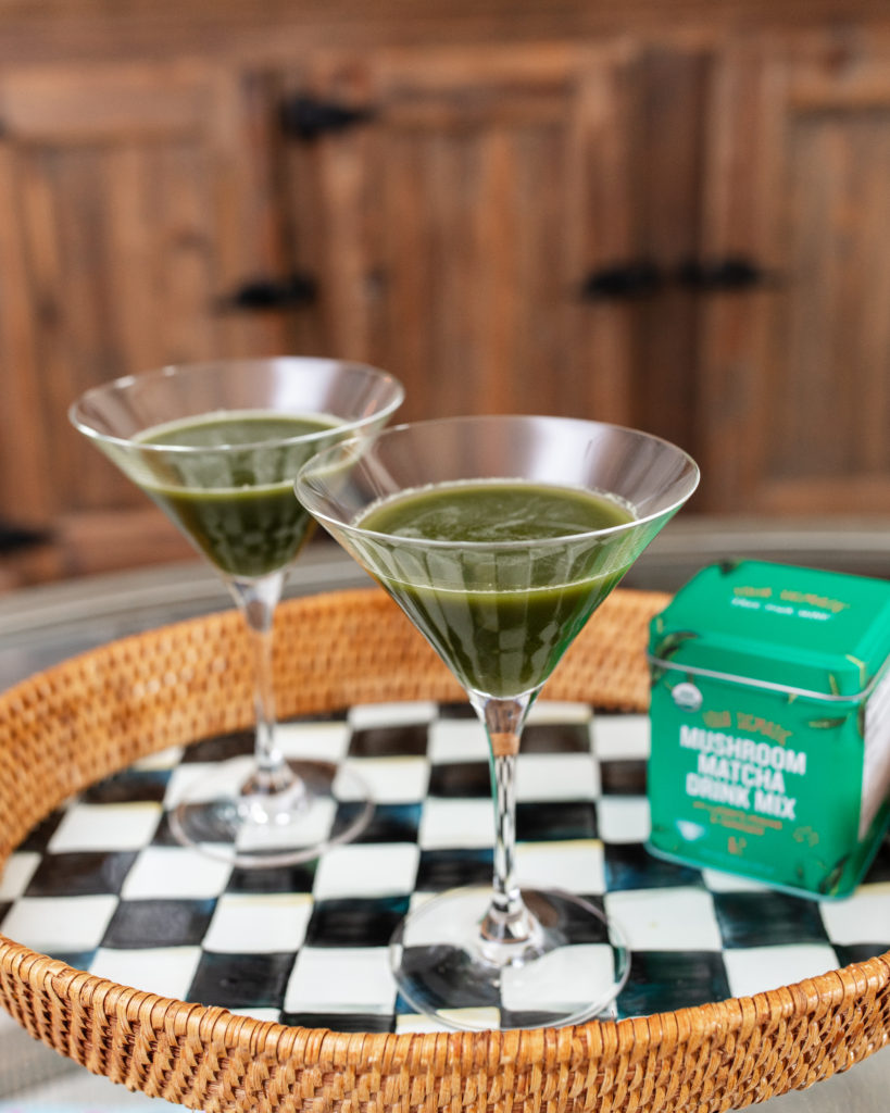 matcha, martini, matcha martini, four sigmatic, mushroom, cocktails, holiday, halloween, party ideas