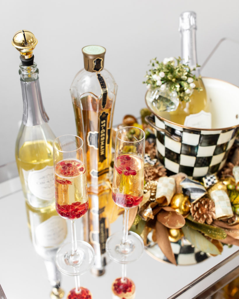 mackenzie-childs, holiday, bar cart, champagne, st germain, ice bucket, le grand courtage