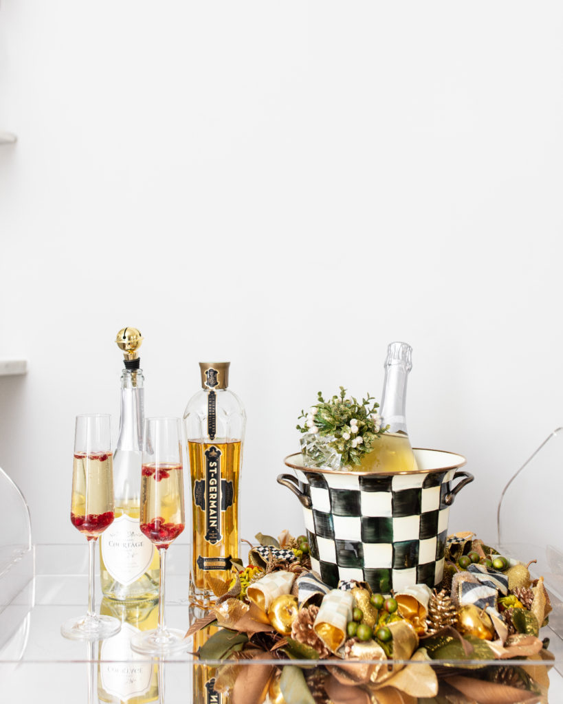 st. germain, pomegranate, spritzer, champagne cocktail, hostess, holiday drinks