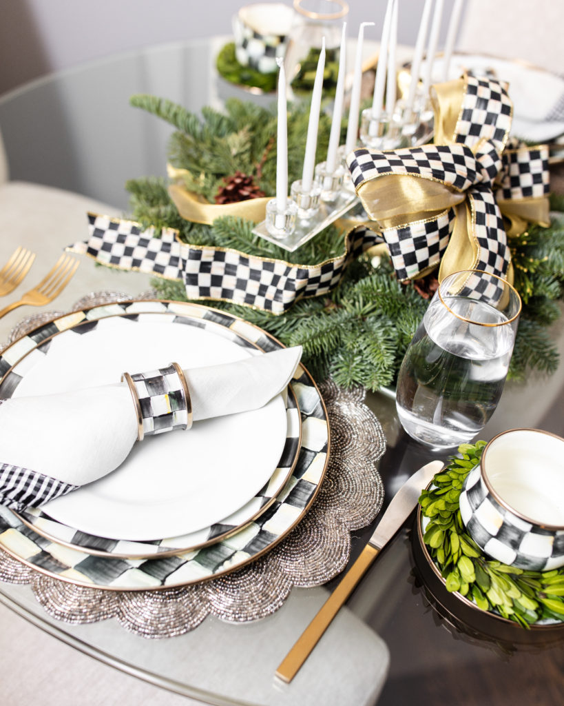 holiday, mackenzie-childs, decor, table setting, tablescape, set the table, dining room